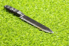 Knife on the grass, investigation, murder stock images