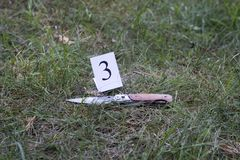 Knife on the grass, investigation, murder stock image