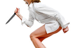 Knife in hand of a woman. Angry woman in white shirt with knife in hand Stock Photos