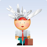 Knife head. Little office man with a lot of multifunction swiss army knife in his head. A versatility concept Royalty Free Stock Image