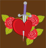 Knife in a heart with Roses Stock Images
