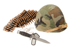 Knife helmet bullet token Stock Photos