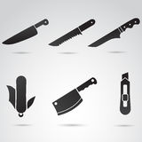 Knife icon set. Royalty Free Stock Image