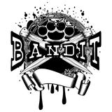 Knife knuckle. Vector illustration two crossed daggers and brass knuckle on barbed wire and grunge background. Inscription bandit. For tattoo or t-shirt design Royalty Free Stock Images