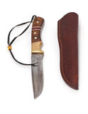 Knife with leather sheath Royalty Free Stock Images