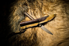 Knife with leather sheath on the leather background.  Royalty Free Stock Photography