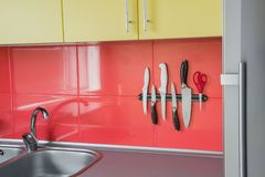 Knife magnet in a kitchen stock photography