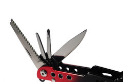 Knife and many tool. The multi function tool for works stock photo