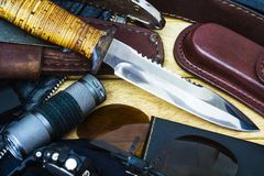 Knife and military equipment Royalty Free Stock Photo
