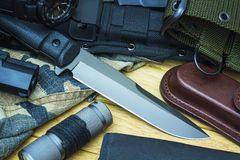 Knife and military equipment Royalty Free Stock Images