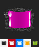 Knife paper sticker with hand drawn elements Stock Photos