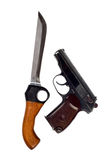 Knife and pistol. Isolated on white background Royalty Free Stock Photo