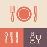 Knife, plate, fork Stock Images