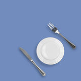Knife, Plate Or Saucer And Fork Top View Royalty Free Stock Image