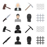 Knife, prisoner, mask on face, steel grille. Prison set collection icons in black,cartoon style vector symbol stock. Illustration Stock Images