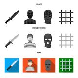 Knife, prisoner, mask on face, steel grille. Prison set collection icons in black, flat, monochrome style vector symbol. Stock illustration stock illustration