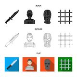 Knife, prisoner, mask on face, steel grille. Prison set collection icons in black,flat,outline style vector symbol stock. Illustration stock illustration