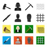 Knife, prisoner, mask on face, steel grille. Prison set collection icons in black,flet style vector symbol stock. Illustration Royalty Free Stock Images