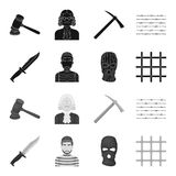 Knife, prisoner, mask on face, steel grille. Prison set collection icons in black,monochrome style vector symbol stock. Illustration Royalty Free Stock Photos