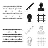 Knife, prisoner, mask on face, steel grille. Prison set collection icons in black, outline style vector symbol stock. Illustration vector illustration