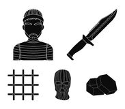 Knife, prisoner, mask on face, steel grille. Prison set collection icons in black style vector symbol stock illustration.  royalty free illustration