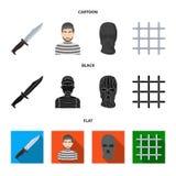 Knife, prisoner, mask on face, steel grille. Prison set collection icons in cartoon,black,flat style vector symbol stock. Illustration stock illustration