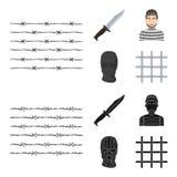Knife, prisoner, mask on face, steel grille. Prison set collection icons in cartoon,black style vector symbol stock. Illustration royalty free illustration