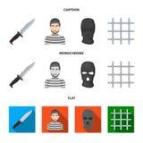 Knife, prisoner, mask on face, steel grille. Prison set collection icons in cartoon,flat,monochrome style vector symbol. Stock illustration vector illustration