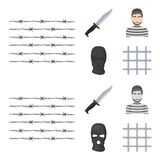 Knife, prisoner, mask on face, steel grille. Prison set collection icons in cartoon,monochrome style vector symbol stock. Illustration royalty free illustration