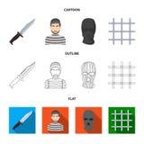 Knife, prisoner, mask on face, steel grille. Prison set collection icons in cartoon,outline,flat style vector symbol. Stock illustration royalty free illustration