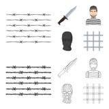 Knife, prisoner, mask on face, steel grille. Prison set collection icons in cartoon,outline style vector symbol stock. Illustration vector illustration
