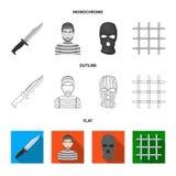Knife, prisoner, mask on face, steel grille. Prison set collection icons in flat,outline,monochrome style vector symbol. Stock illustration royalty free illustration