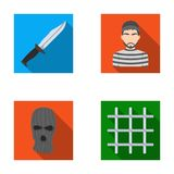 Knife, prisoner, mask on face, steel grille. Prison set collection icons in flat style vector symbol stock illustration Royalty Free Stock Photos