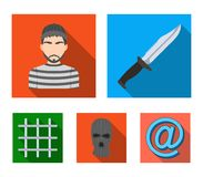 Knife, prisoner, mask on face, steel grille. Prison set collection icons in flat style vector symbol stock illustration.  Royalty Free Stock Photography