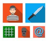 Knife, prisoner, mask on face, steel grille. Prison set collection icons in flat style vector symbol stock illustration.  vector illustration
