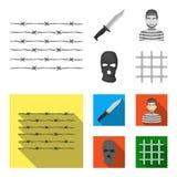 Knife, prisoner, mask on face, steel grille. Prison set collection icons in monochrome,flat style vector symbol stock. Illustration royalty free illustration