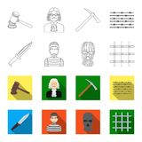Knife, prisoner, mask on face, steel grille. Prison set collection icons in outline,flet style vector symbol stock. Illustration Royalty Free Stock Photos