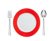 Knife, red and white plate and fork, isolated on white Royalty Free Stock Photo