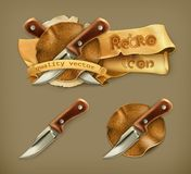 Knife, retro icon Royalty Free Stock Photo