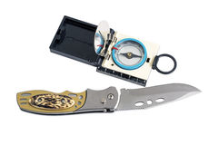 Knife with Rubberized Handle and Compass Stock Photos