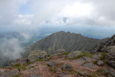Knife;s edge. A view of knife's edge on Mt. Katahdin with clouds rolling in Stock Photography