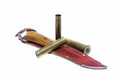 Knife in scabbard and ammunition for hunting Royalty Free Stock Photography