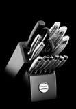 Knife set. Kitchenware (knife set) on black background stock photo