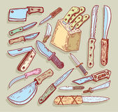 Knife set, vector illustration. Stock Photos