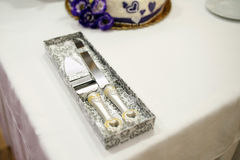 Knife and sever for cutting. A wedding cake Royalty Free Stock Photos