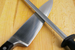 Knife and sharpener Royalty Free Stock Photos