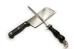 Knife and Sharpener Stock Photography
