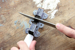 Knife and sharpener Stock Photo