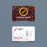 Knife sign icon. Edged weapons symbol. Business card template with confetti pieces. Knife sign icon. Edged weapons symbol. Stab or cut. Hunting equipment. Phone Royalty Free Stock Images