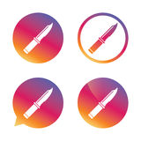 Knife sign icon. Edged weapons symbol. Stab or cut. Hunting equipment. Gradient buttons with flat icon. Speech bubble sign. Vector Royalty Free Stock Photos